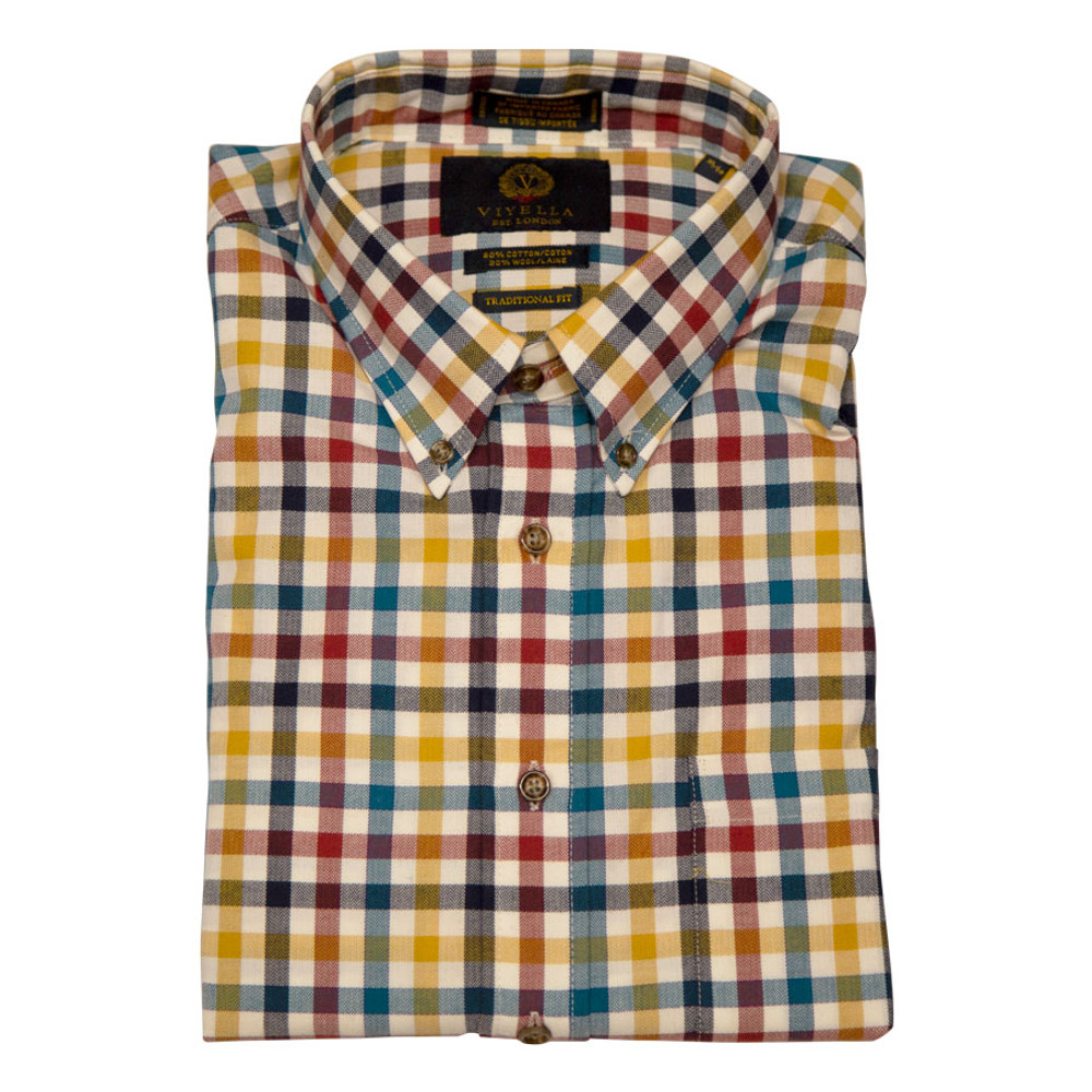 White, Olive, Red, and Yellow Plaid Button-Down Shirt by Viyella