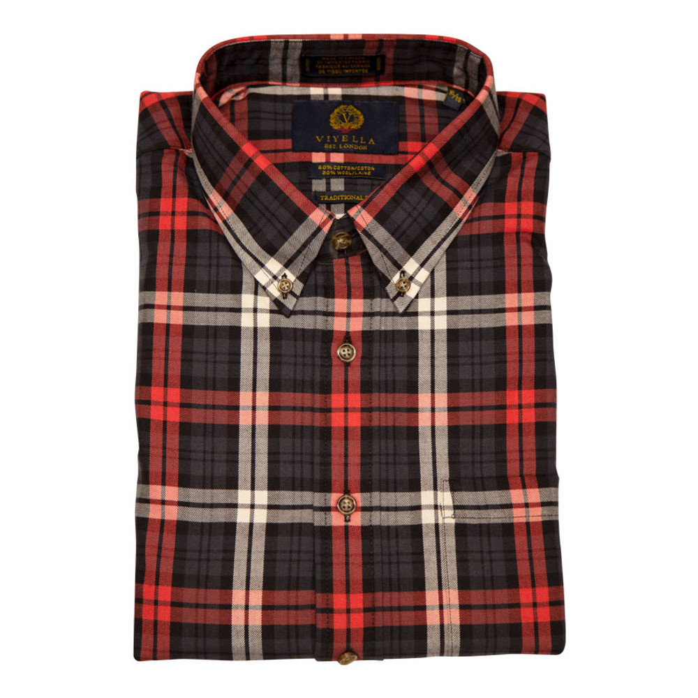 Red and Black Plaid Button-Down Shirt by Viyella