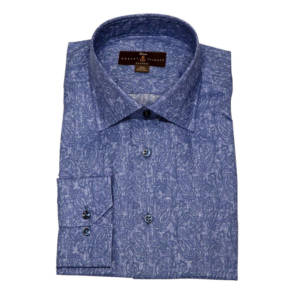 Ocean Blue Paisley Estate Dress Shirt by Robert Talbott