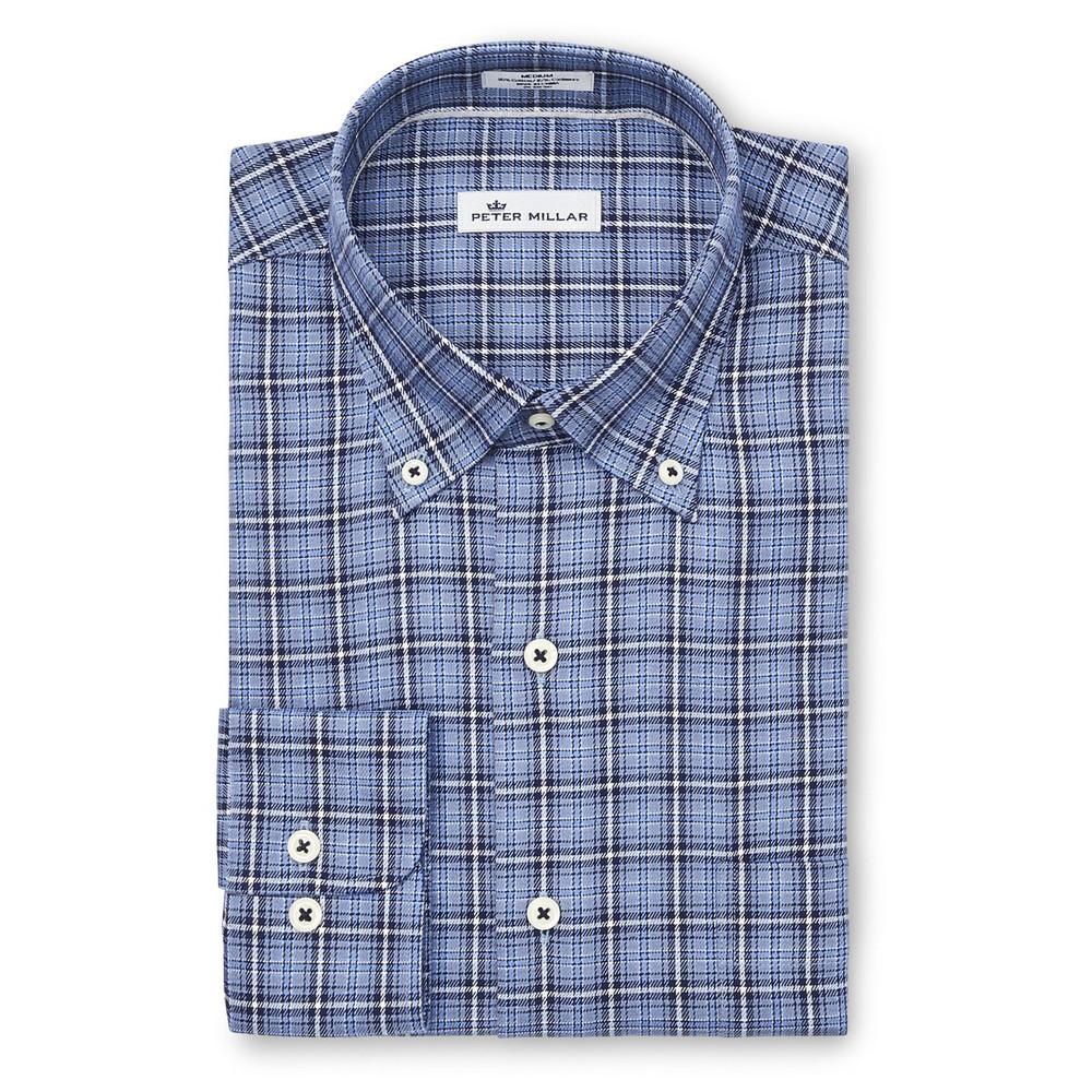 Crown Fleece Briar Hill Tartan Sport Shirt in Cottage Blue by Peter Millar