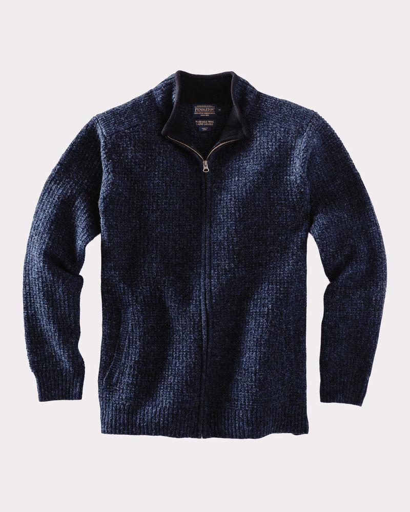 Shetland Full Zip Cardigan Sweater in Indigo Heather by Pendleton