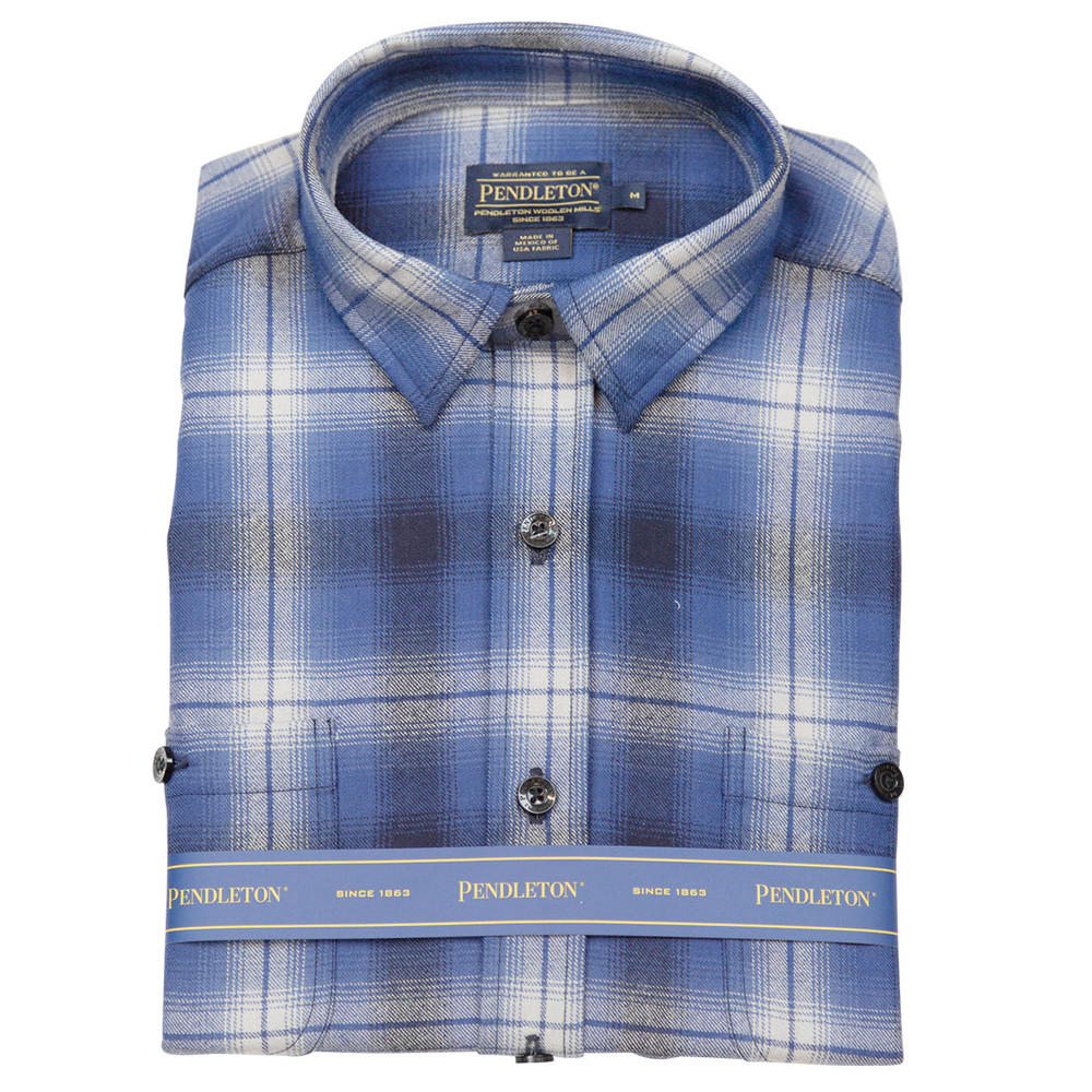 Zephyr Wool Shirt in Blue Ombre Plaid by Pendleton