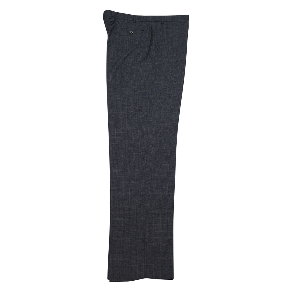 'Todd' Flat Front Wool Shaded Glen Check Pant in Charcoal Grey by Zanella