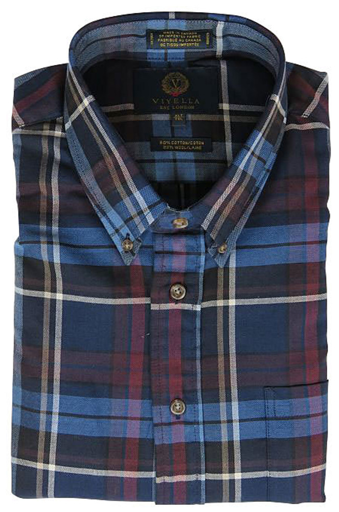 Blue and Red Plaid Button-Down Shirt by Viyella