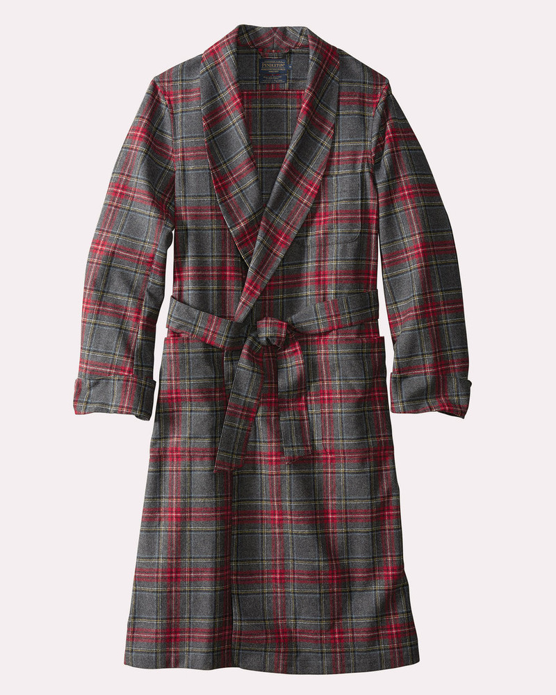 Washable Whisperwool Lounge Robe in Grey Stewart Tartan by Pendleton