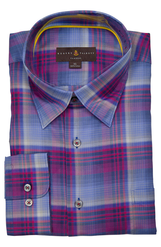 Blue & Red Plaid 'Anderson II' Sport Shirt by  Robert Talbott