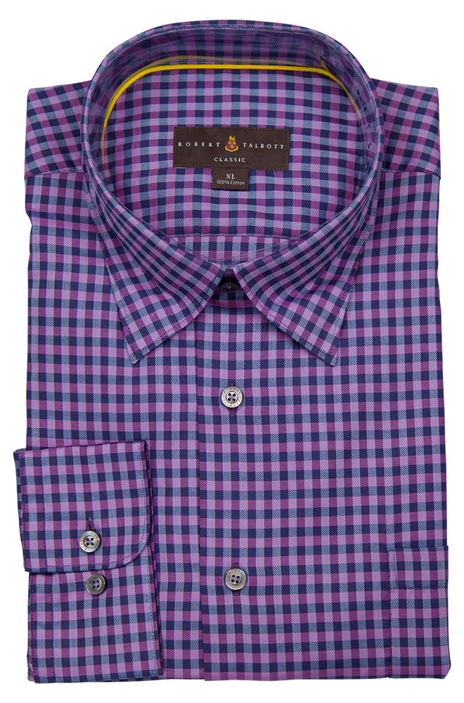 Navy and Purple Check 'Anderson II' Sport Shirt by Robert Talbott