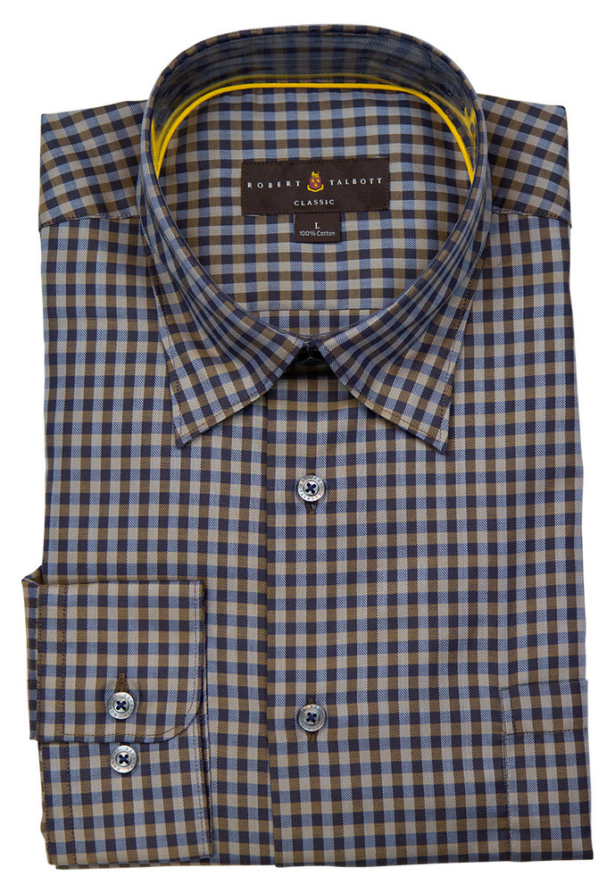 Navy and Brown Check 'Anderson II' Sport Shirt by Robert Talbott