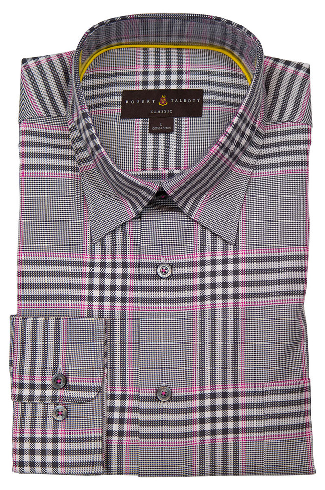 Grey and Pink Plaid 'Anderson II' Sport Shirt by  Robert Talbott