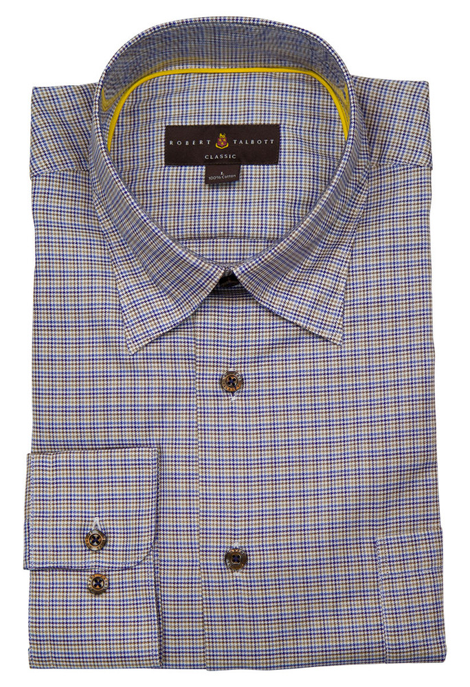 Blue and Brown Check 'Anderson II' Sport Shirt by Robert Talbott