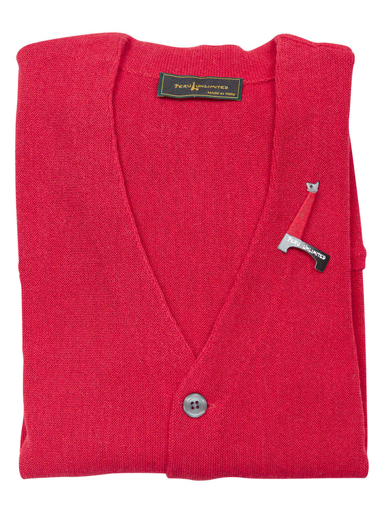 Baby Alpaca L-S Cardigan Sweater in Red (Size Large) by Peru Unlimited