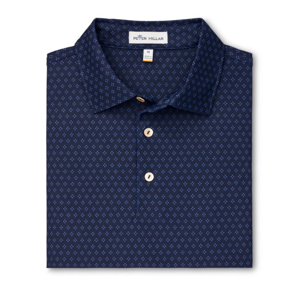 Windemere Printed Foulard Stretch Mesh 'Crown Sport' Performance Polo with Sean Self Collar in Navy by Peter Millar