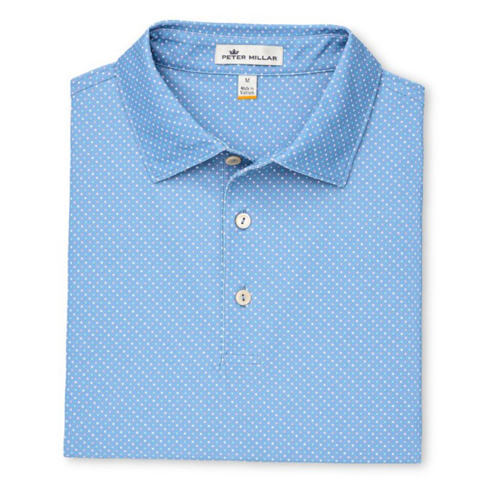 Beckana Printed Multi Polka Dot Stretch Mesh 'Crown Sport' Performance Polo with Sean Self Collar in Iberian Blue by Peter Millar