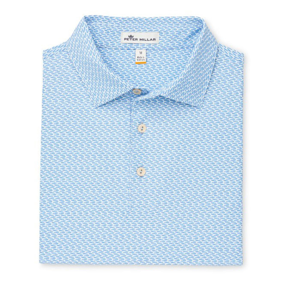 Marlowe Printed Boats Stretch Mesh 'Crown Sport' Performance Polo with Sean Self Collar in Navy by Peter Millar