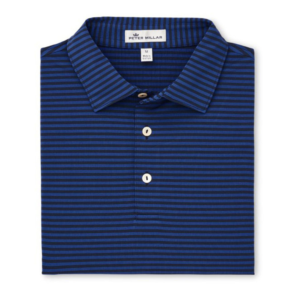 Competition Stripe Stretch Stretch Jersey 'Crown Sport' Performance Polo with Sean Self Collar in Navy/Sail by Peter Millar