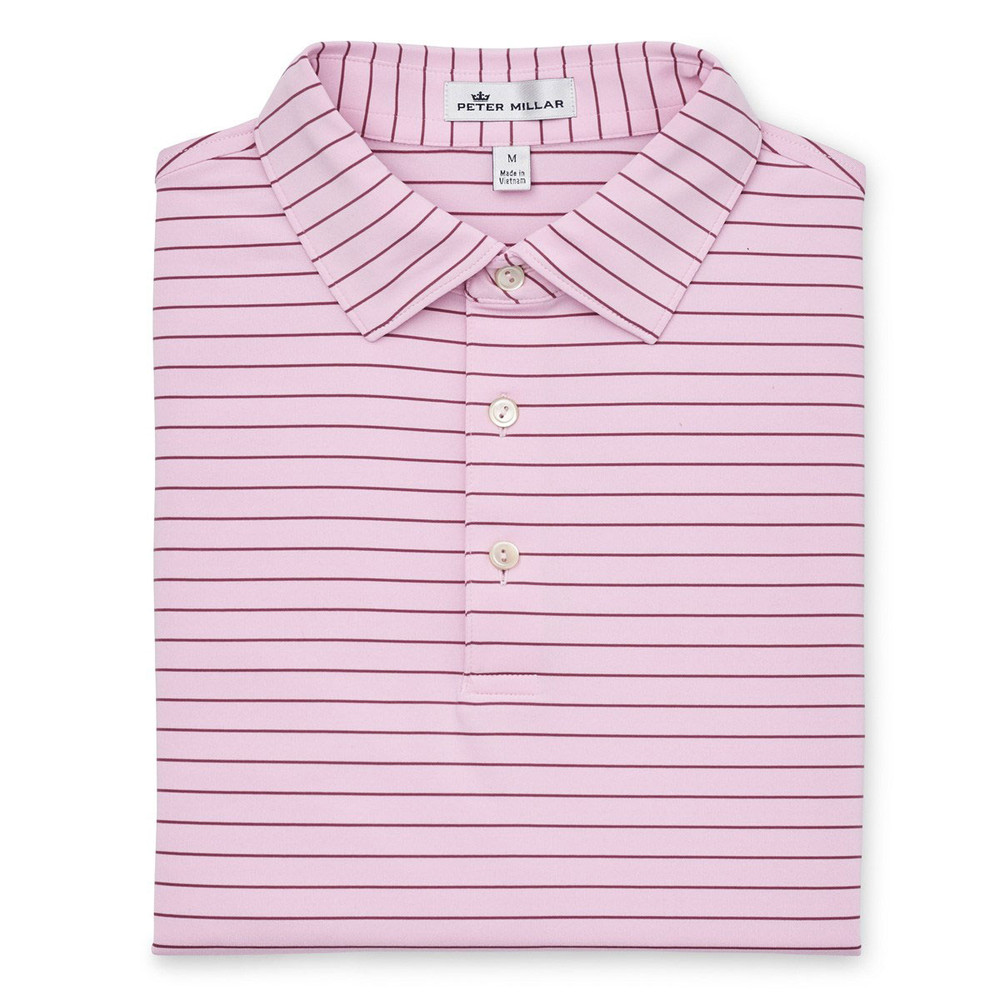 NEW Fall 2018 -Halifax Stripe Performance Polo by Peter Millar- Palmer Pink