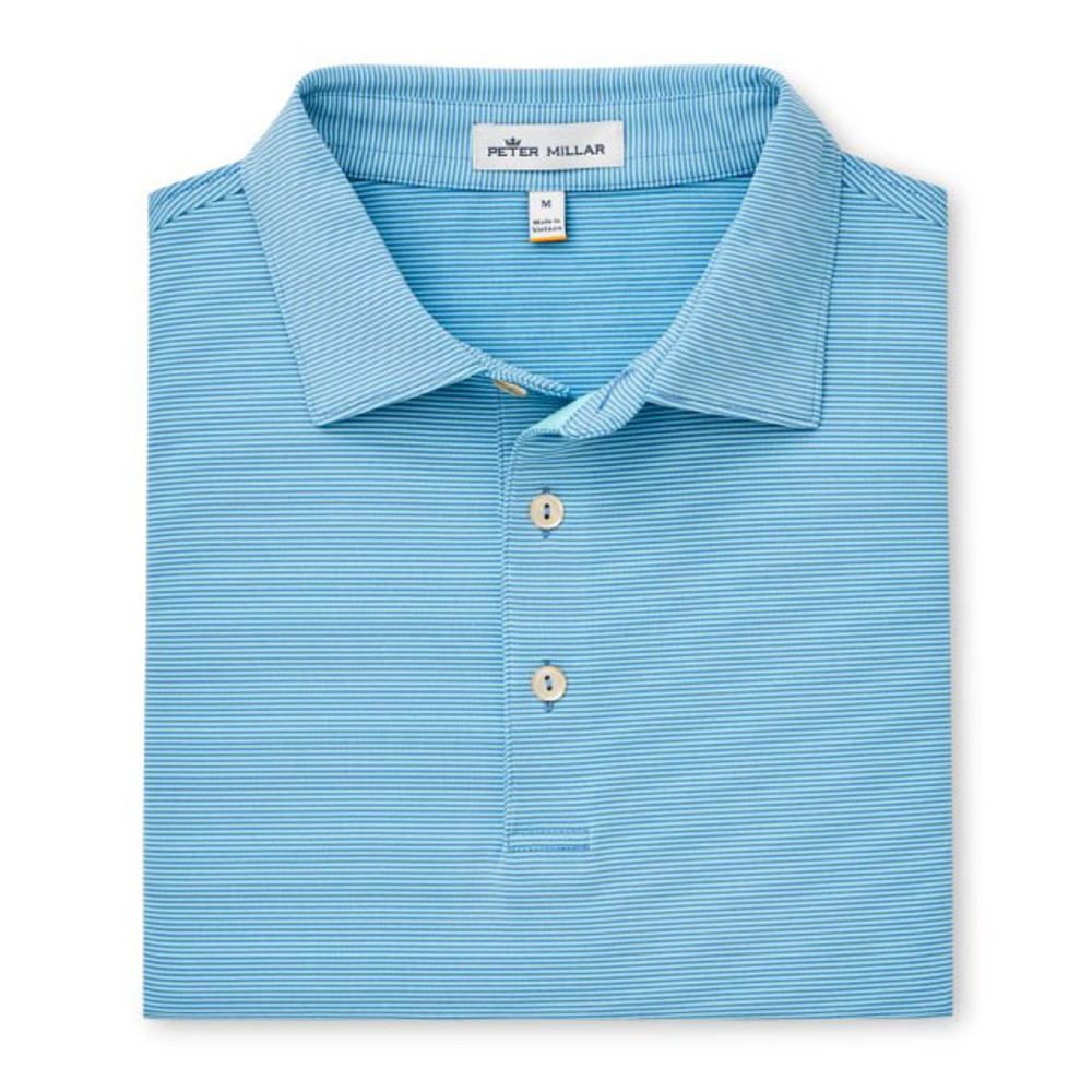 Spring 2019 Jubilee Stripe Stretch Jersey 'Crown Sport' Performance Polo with Sean Self Collar in Iberian Blue by Peter Millar