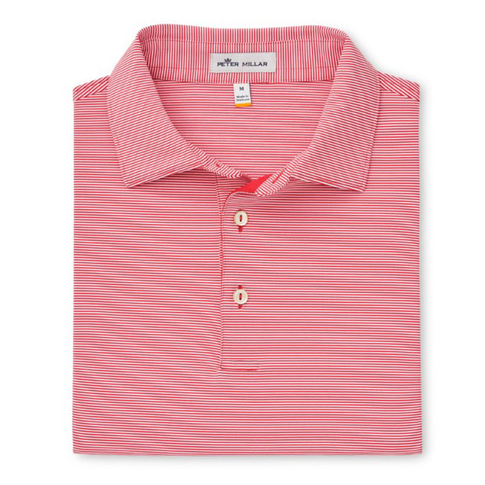 Spring 2019 Jubilee Stripe Stretch Jersey 'Crown Sport' Performance Polo with Sean Self Collar in Rosefish by Peter Millar