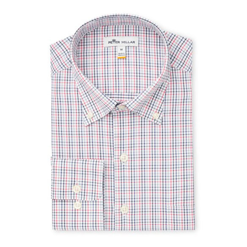 41223679383f Grant Tattersall Performance Stretch Sport Shirt in White by Peter Millar
