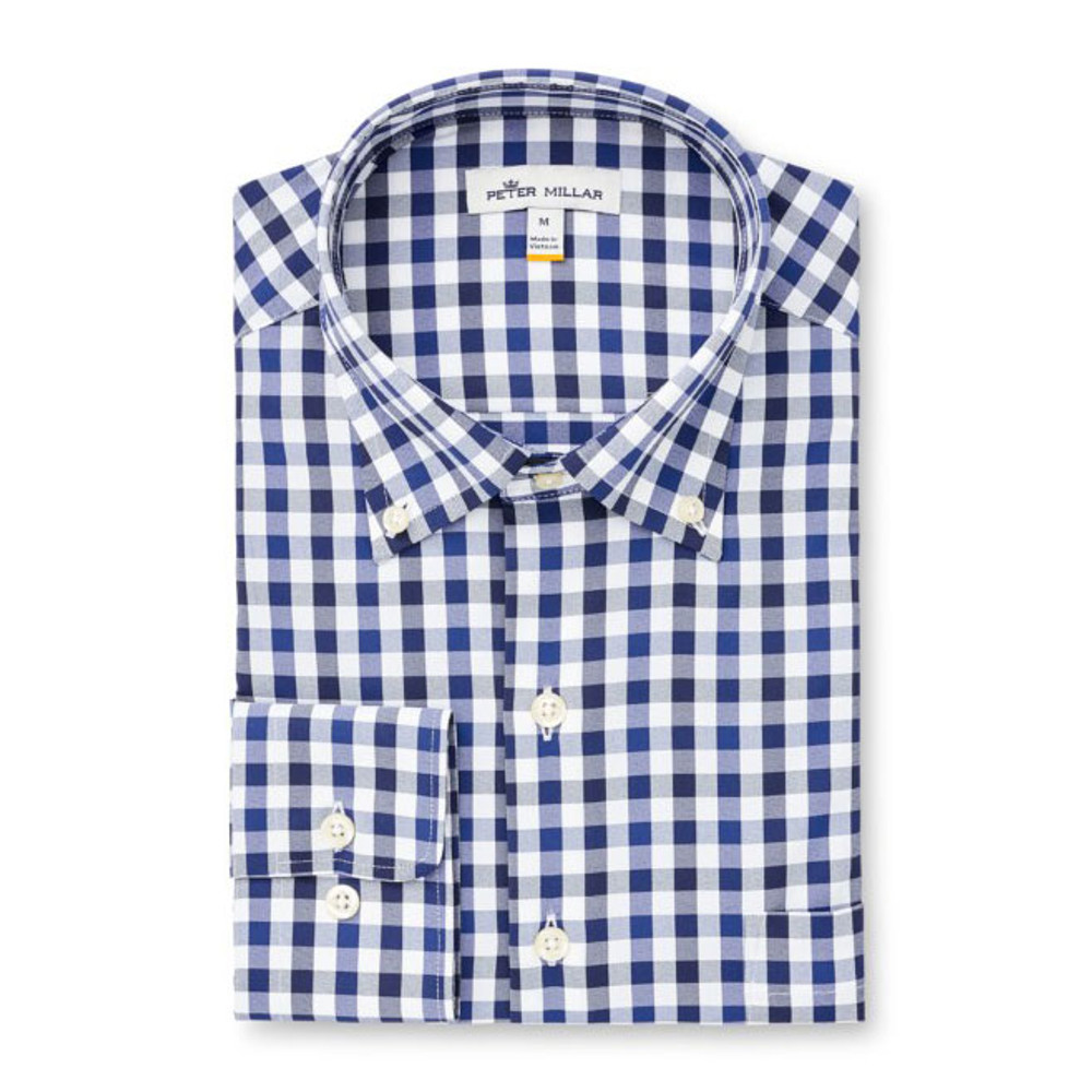 Rock Stream Multi Gingham Performance Stretch Sport Shirt in Sail by Peter Millar