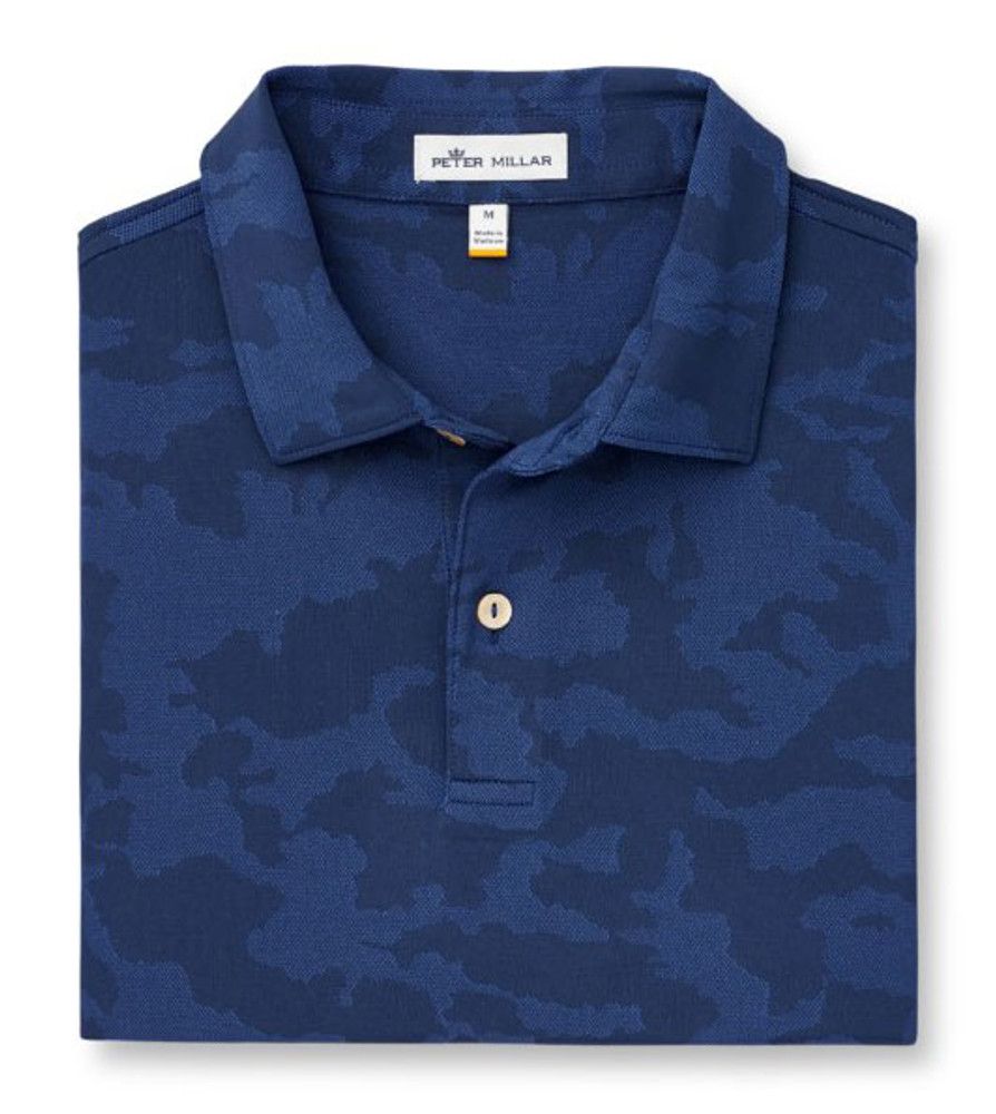 Carl Camo Plaited Stretch Jacquard Jersey Polo in Navy Blue by Peter Millar