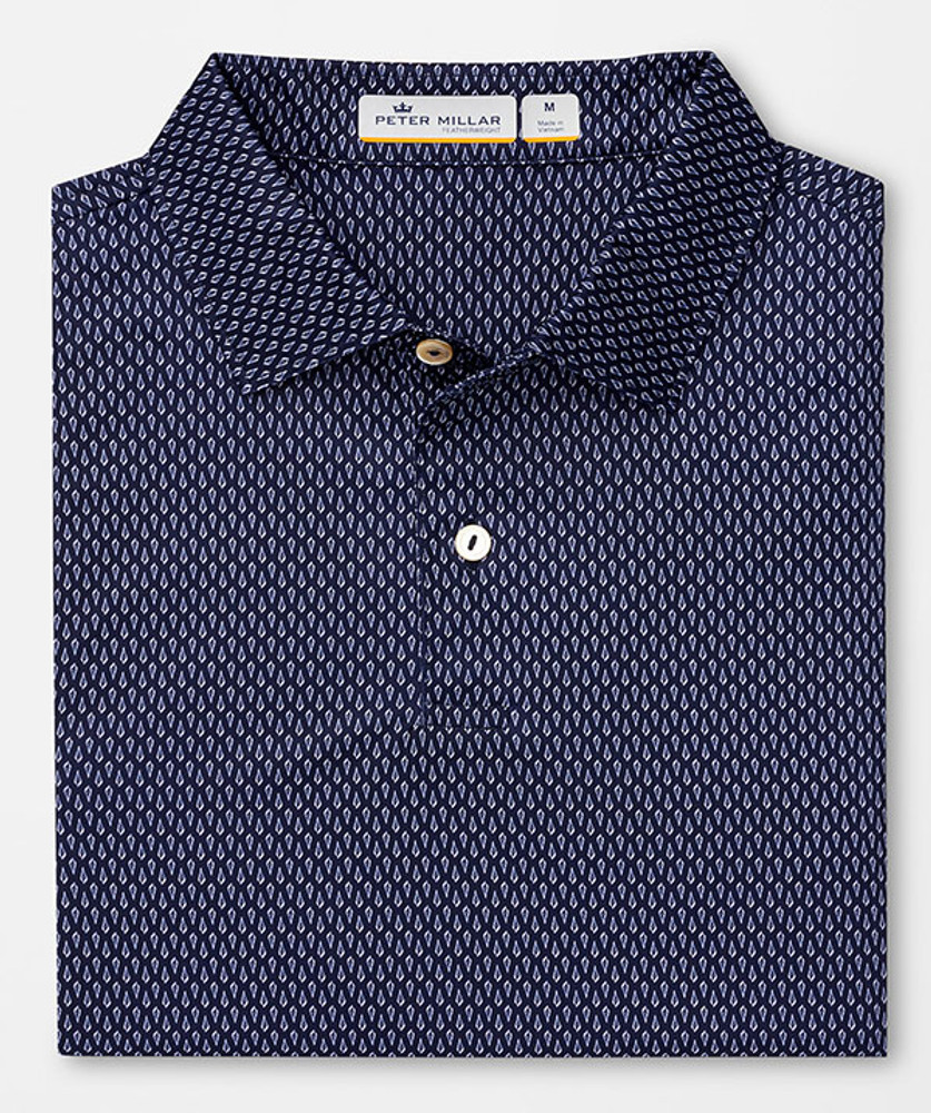 Featherweight Printed Seashells Polo in Navy Blue by Peter Millar