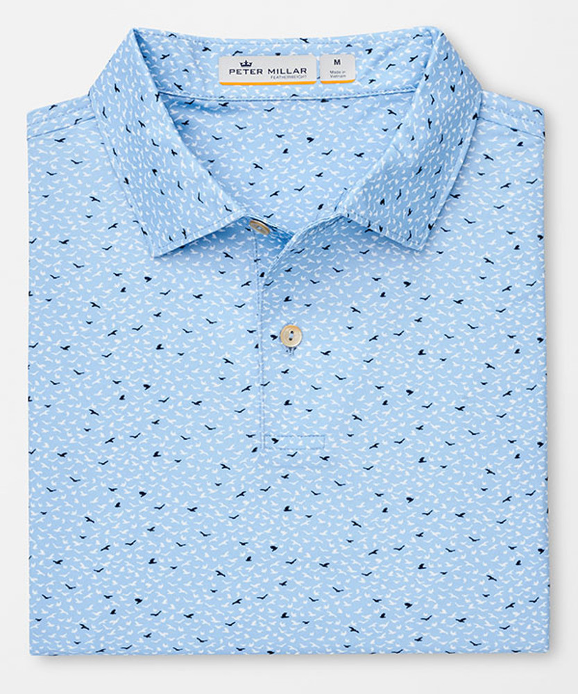 Featherweight Printed Birds Polo in Cottage Blue by Peter Millar