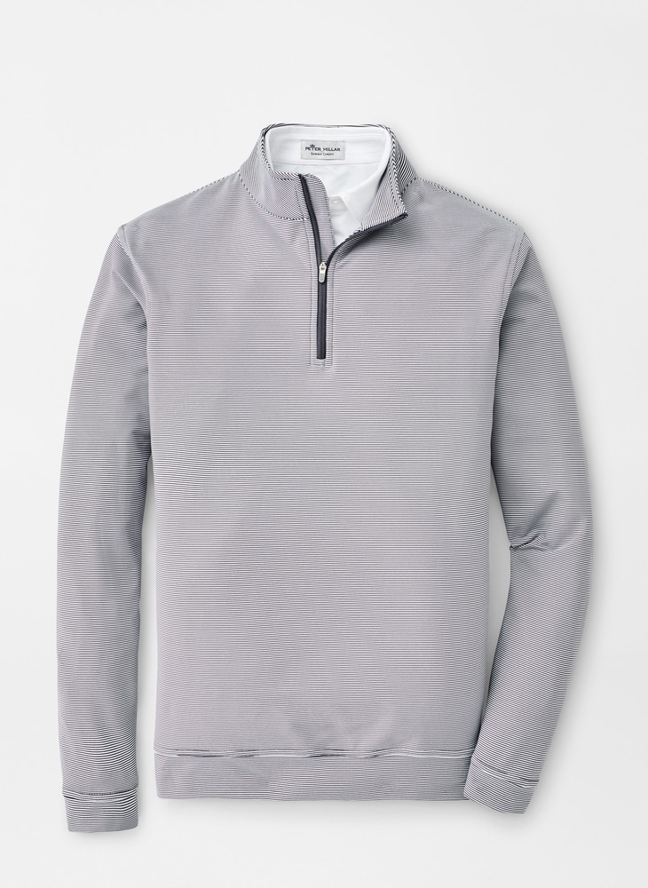 Perth Mini-Stripe Stretch Loop Terry Quarter-Zip Performance Pullover in Iron by Peter MIllar