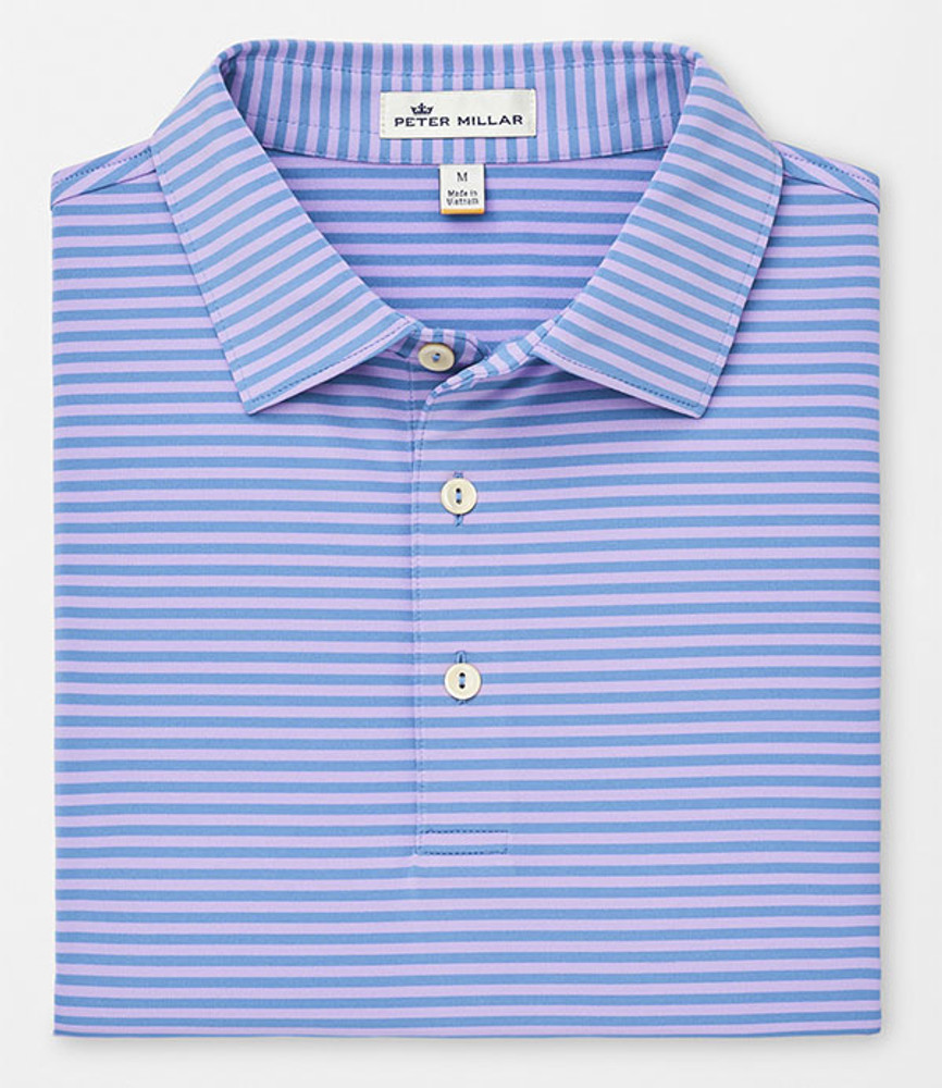 Competition Stripe Stretch Stretch Jersey 'Crown Sport' Performance Polo with Sean Self Collar in Iberian Blue/Muscadine by Peter Millar