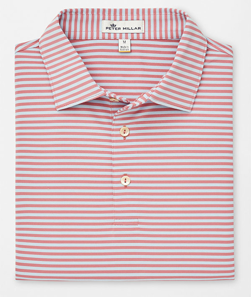 21fe8cd315f Competition Stripe Stretch Stretch Jersey 'Crown Sport' Performance Polo  with Sean Self Collar in Lanai/Oasis by Peter Millar