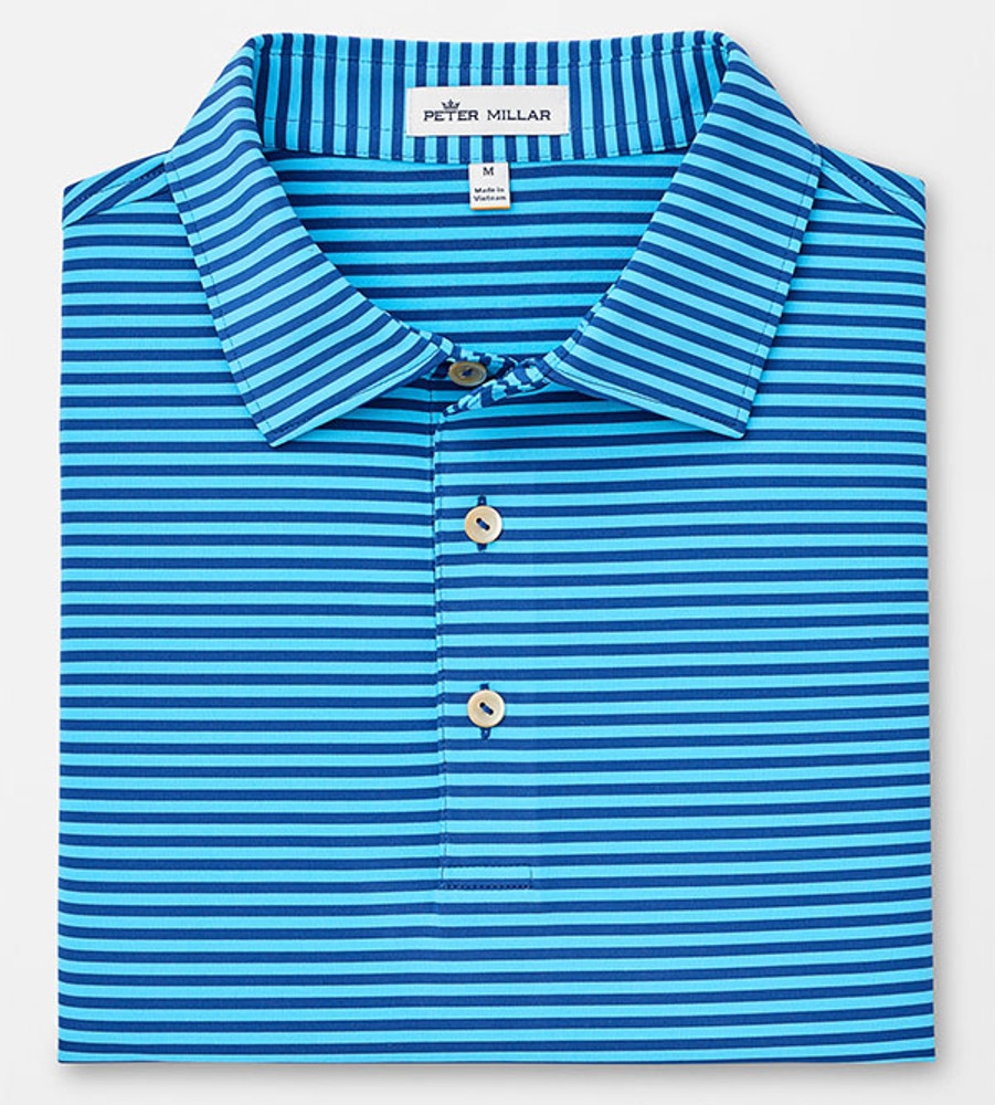 Competition Stripe Stretch Stretch Jersey 'Crown Sport' Performance Polo with Sean Self Collar in Plaza Blue/Blue FIsh by Peter Millar