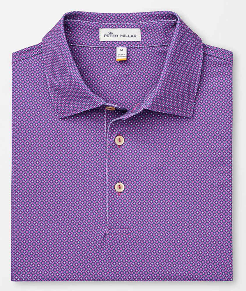 Tazza Printed Foulard Stretch Jersey 'Crown Sport' Performance Polo with Sean Self Collar in Dayflower by Peter Millar
