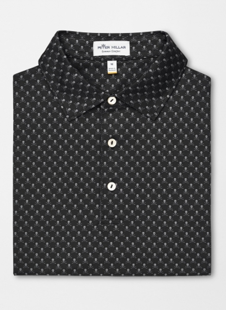 Taxes Printed Skulls and Clubs Stretch Jersey 'Crown Sport' Performance Polo with Sean Self Collar in Black by Peter Millar