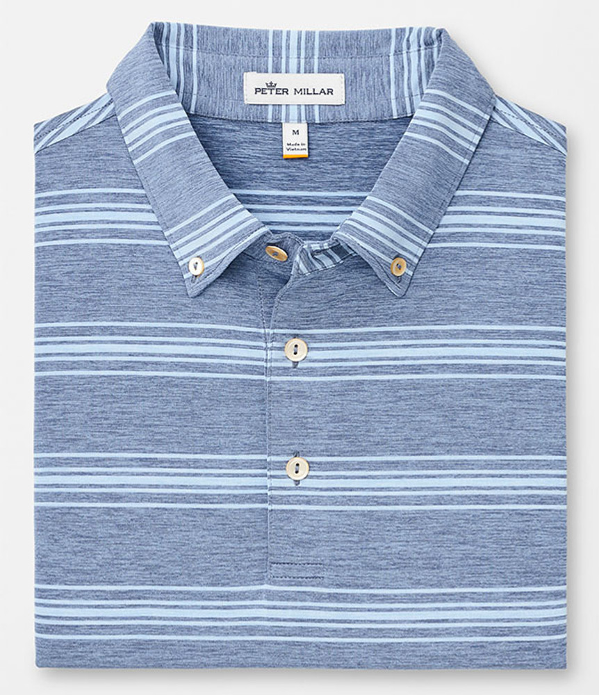 Pit Stripe 'Crown Sport' Performance Polo with Button Collar in Plaza Blue by Peter Millar