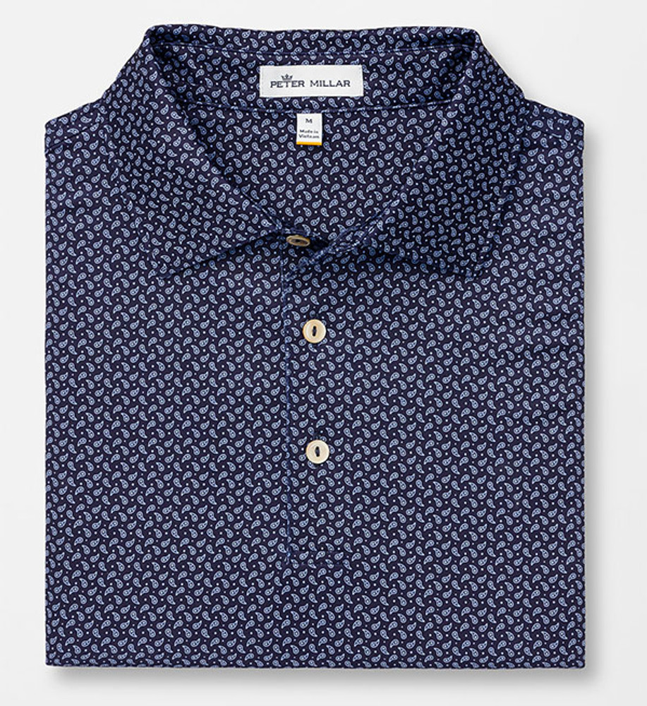 Midtown Printed Paisley Stretch Jersey 'Crown Sport' Performance Polo with Sean Self Collar in Navy by Peter Millar