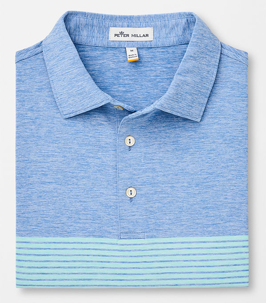 Mecca Engineered Stripe 'Crown Sport' Performance Polo with Sean Self Collar in Iberian Blue by Peter Millar