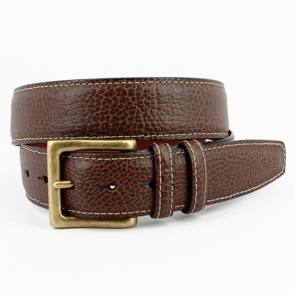 Italian Shrunken Pebbled Glove Leather Belt  in Brown by Torino Leather Co.