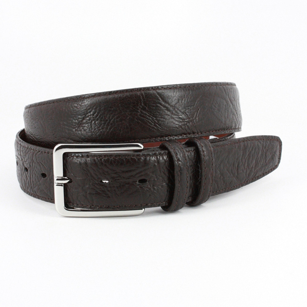 Shrunken Bull Shoulder Leather Belt in Brown by Torino Leather Co.