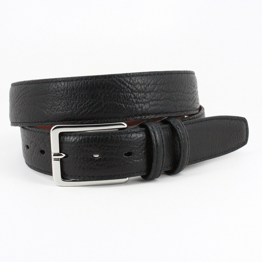 Shrunken Bull Shoulder Leather Belt in Black by Torino Leather Co.
