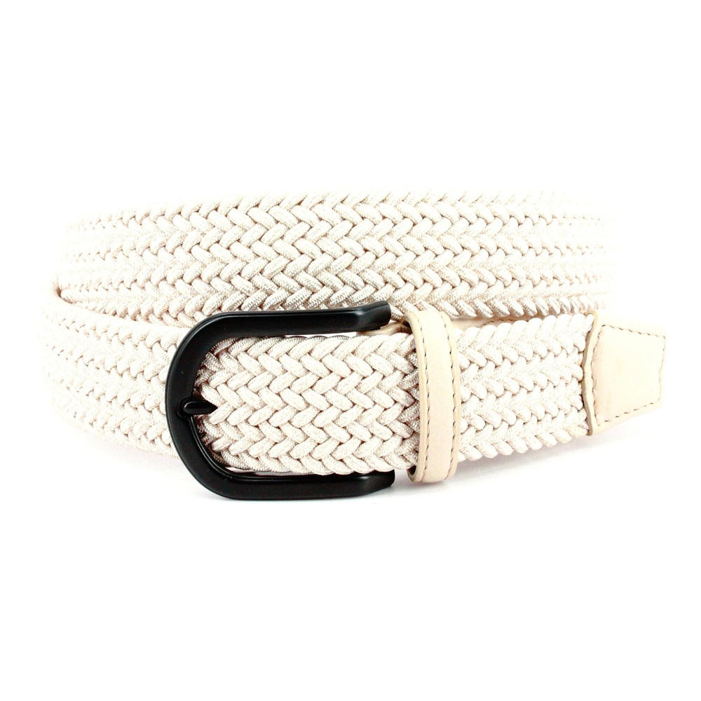 Italian Braided Melange Rayon Stretch Belt in Cream by Torino Leather Co.