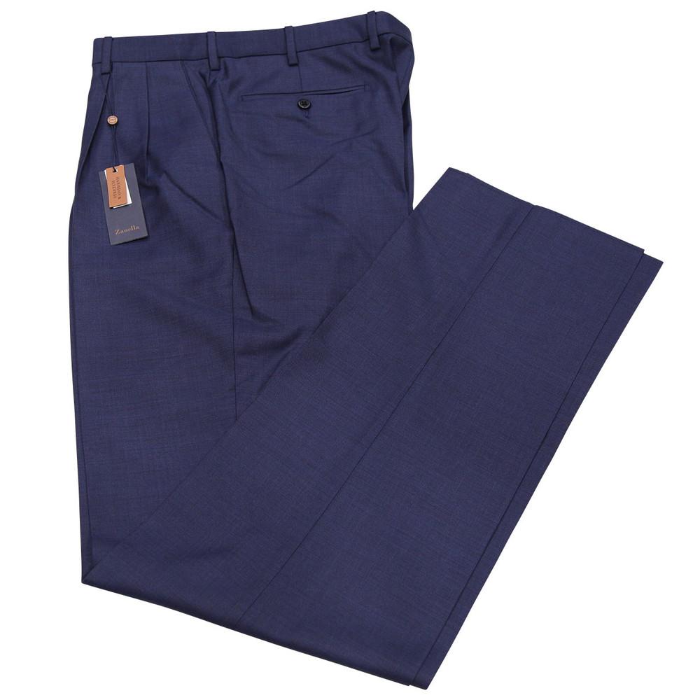 'Bennett' Classic Sharkskin Wool Pant in Blue by Zanella