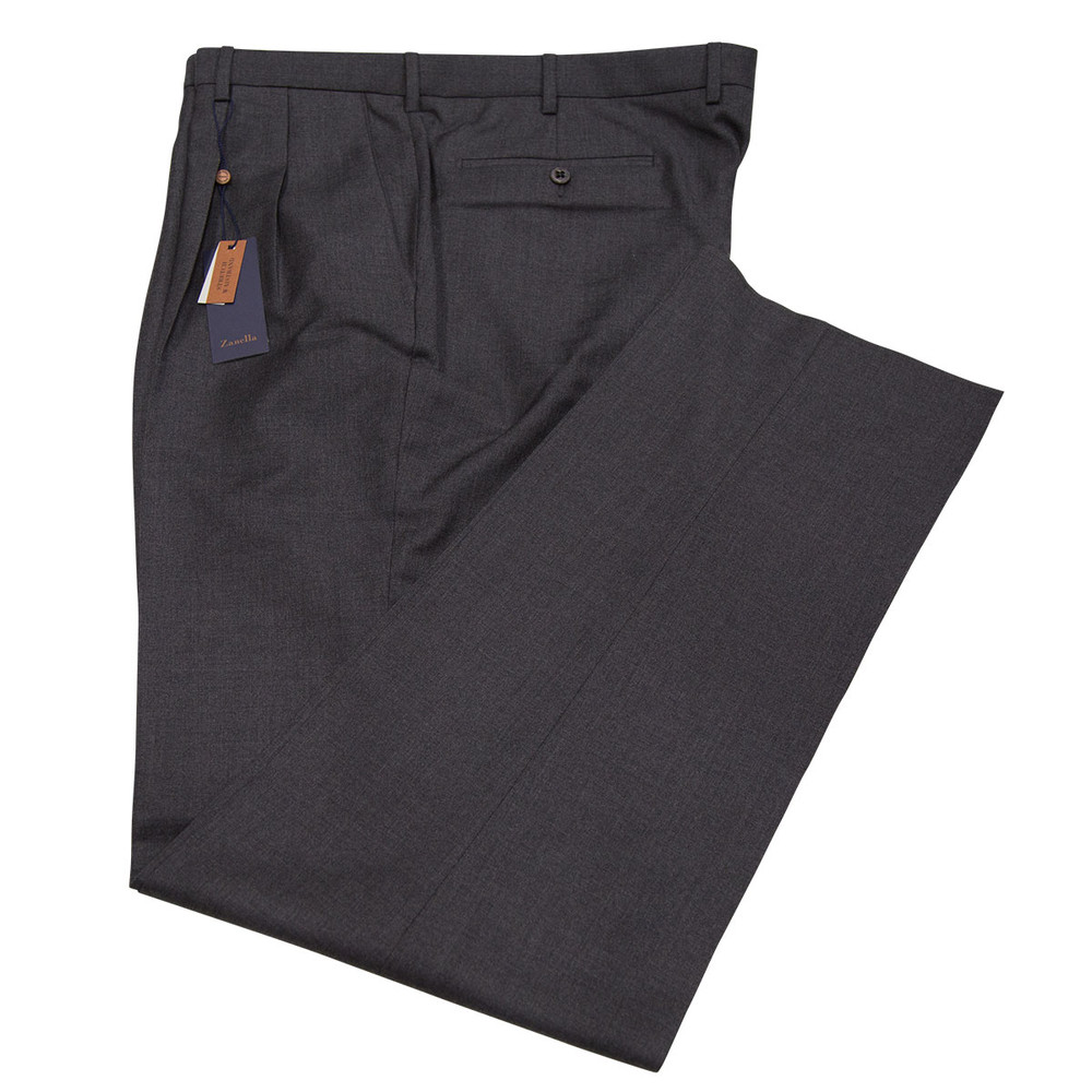 'Bennett' Super 120's Wool Serge Pant in Charcoal by Zanella