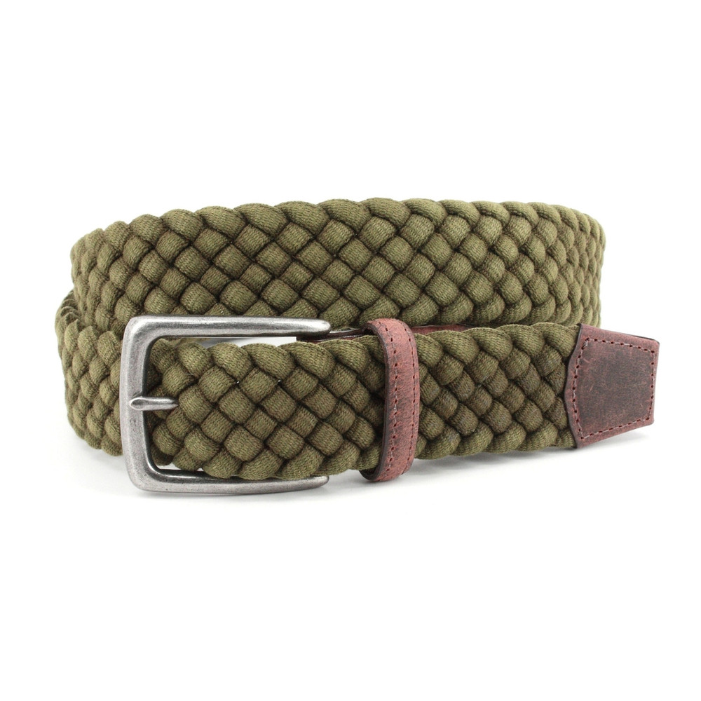 Italian Woven Distressed Cotton & Leather Belt in Olive by Torino Leather Co.