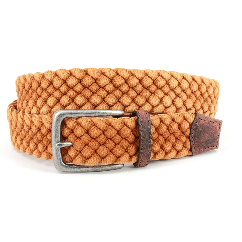 Italian Woven Distressed Cotton & Leather Belt in Yellow by Torino Leather Co.