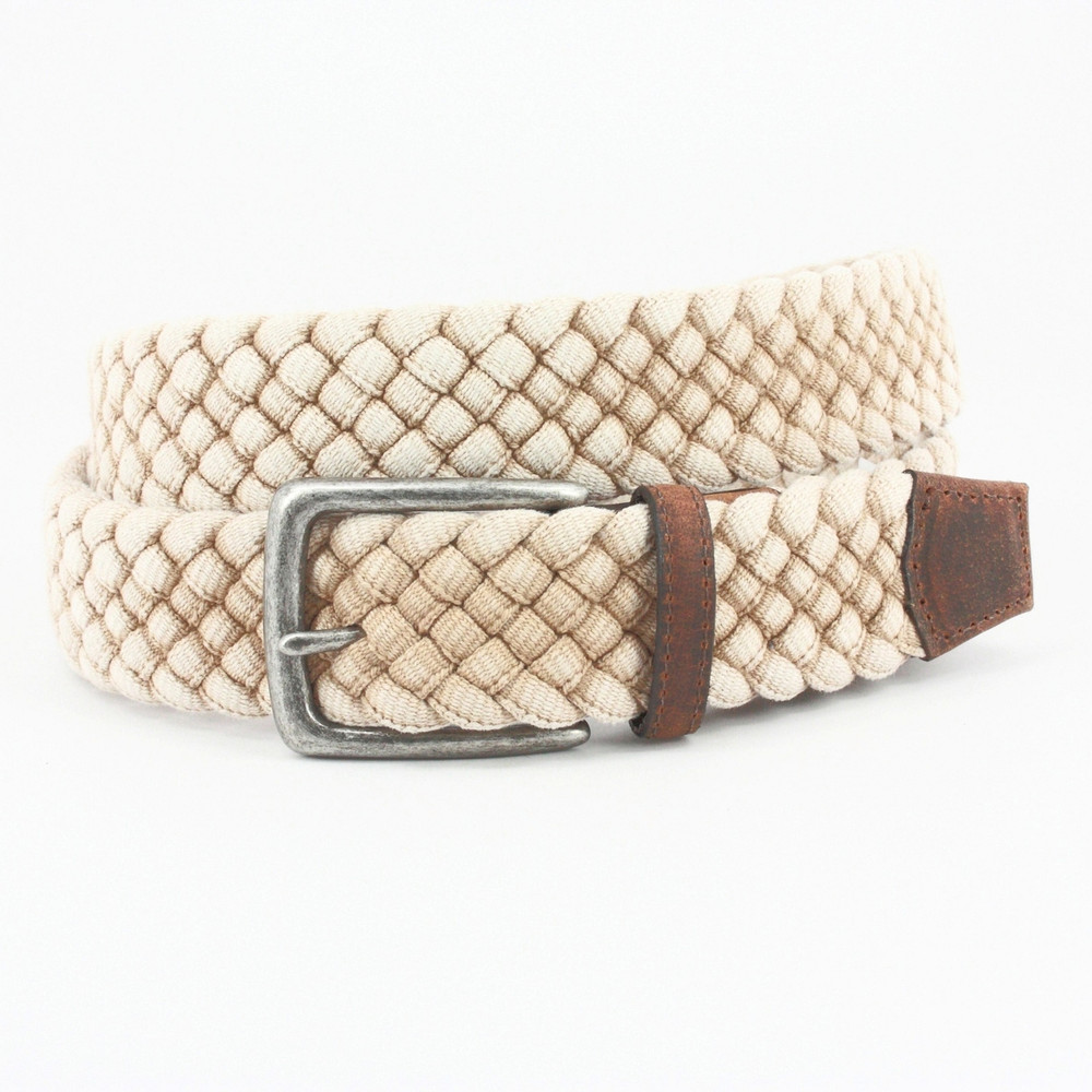Italian Woven Distressed Cotton & Leather Belt in Cream by Torino Leather Co.