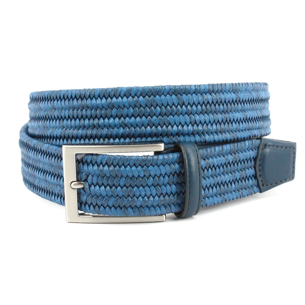 Italian Flat Strand Braided Melange Cotton & Leather Belt in Black by Torino Leather Co.