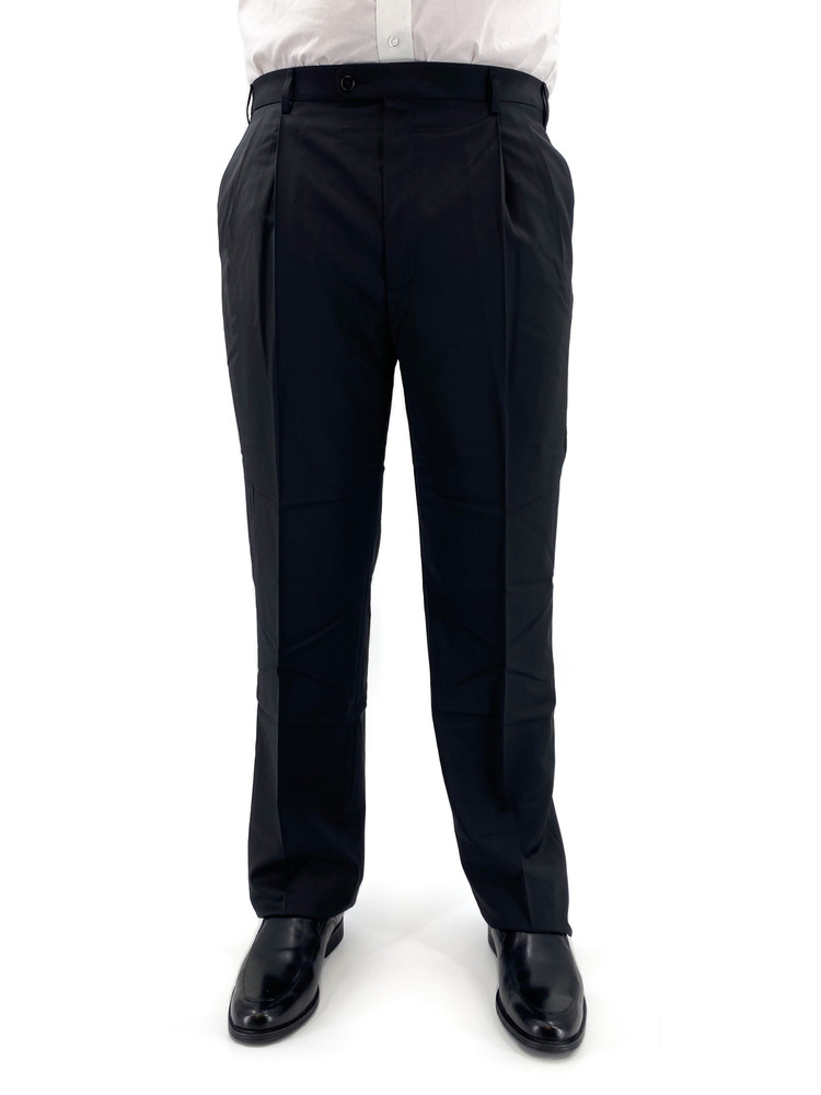 'Bennett' Wool Stretch Solid Trouser in Black by Zanella
