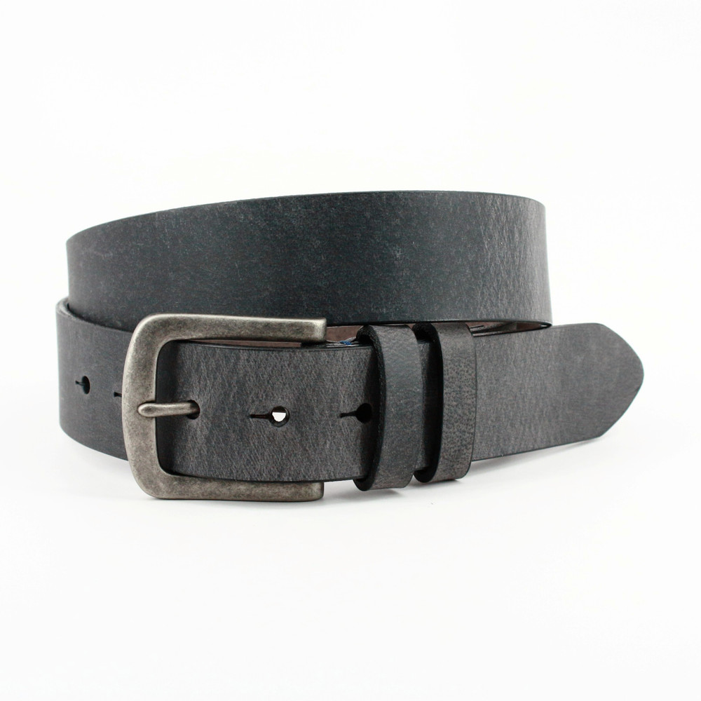 Distressed Waxed Harness Leather Belt in Charcoal by Torino Leather Co.