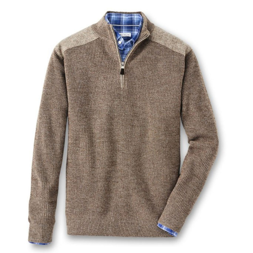 Mountainside - Highland Quarter-Zip With Wool Shoulder Patches in Malt by Peter Millar