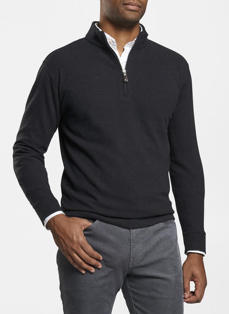 Tri-Blend Melange Fleece Quarter-Zip in Black by Peter Millar